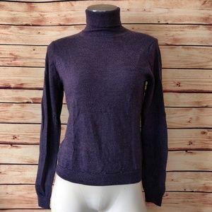 Purple Brooks Merino Silk Cashmere Turtleneck